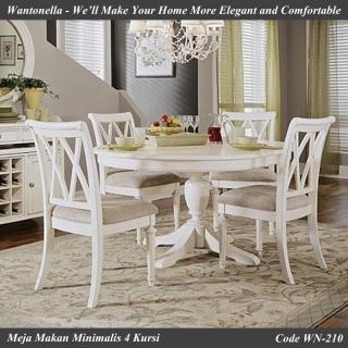 Meja Makan Minimalis 4 Kursi Putih