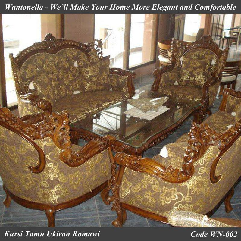 Kursi Tamu Sofa Jati Ukiran Romawi Wantonella Furniture Jepara