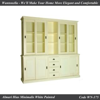 Bookcase Minimalis Mahogany Cat Duko Putih