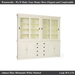 Bookcase Minimalis 4 Pintu Cat Putih
