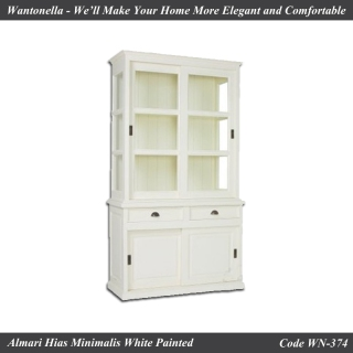 Bookcase Minimalis Cat Putih 2 Pintu