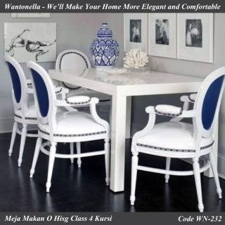 Meja Makan Victorian Style Cat Putih