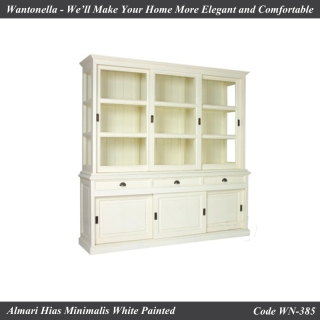 Bookcase Minimalis Cat Putih 3 Pintu