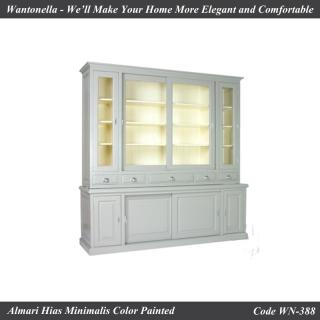 Bookcase Minimalis Cat Silver 4 Pintu